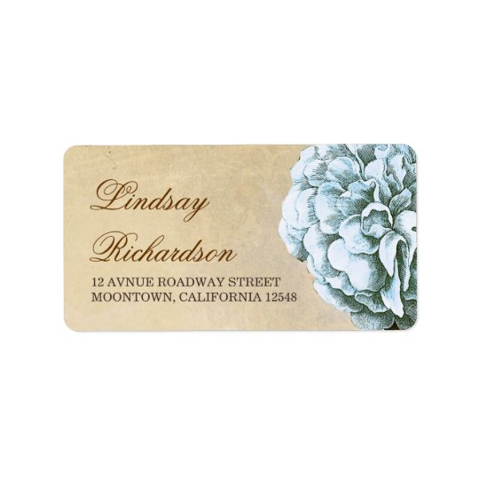 vintage address label  with blue peony blossom
