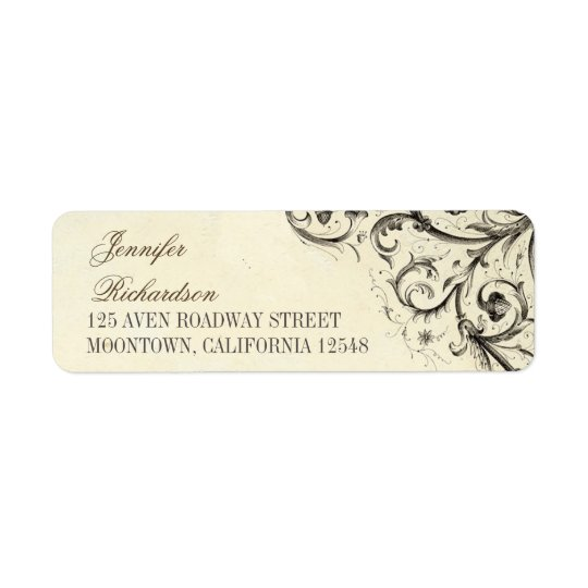 vintage address labels with elegant flourishes
