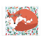 Vintage adorable cute mother fox wolf and her baby postcard
