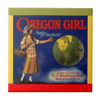 Vintage Ads ad Oregon Girl Apples Crate Label Tile