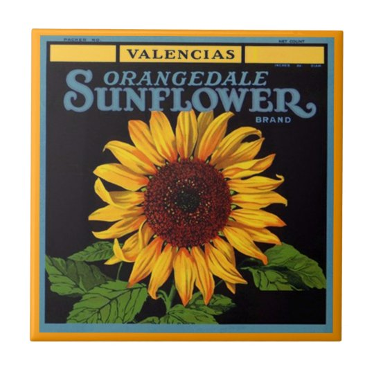 Vintage Ads Sunflower Brand Fruit Crate Label Tile