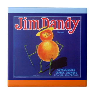 Vintage Adv Jim Dandy Orange Crate Label Tile