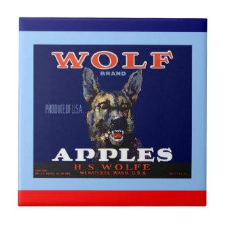 Vintage Adv Wolf Apples Crate Label Tile
