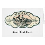 Vintage advert: Bison chasing old tandem bicycle Greeting Card