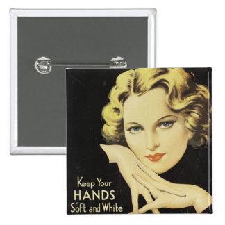 Vintage Advertisement Hand Cream Woman Blond Hair 15 Cm Square Badge