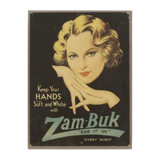 Vintage Advertisement Hand Cream Woman Blond Hair Wood Print