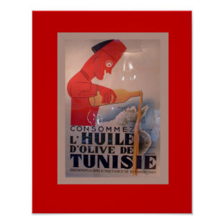 Vintage Advertisement, L'Huile d'Olive de Tunisie Poster