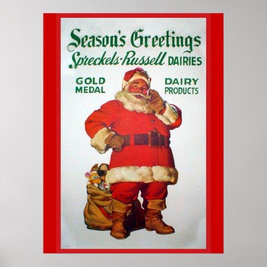 Vintage Advertisement, Spreckels Russells Dairies Poster