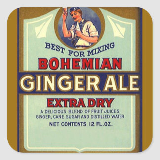 Vintage Advertising Bohemian Dry Ginger Ale Mixer Square Sticker