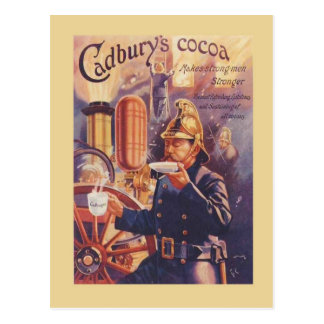 Vintage advertising, Cadbury's Cocoa, Fireman Postcard