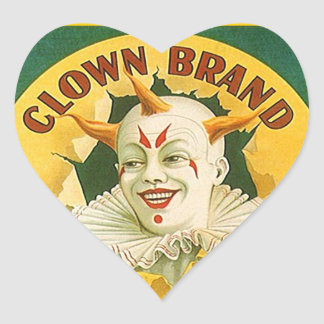Vintage Advertising Clown Brand Fruit Sparr Co. Heart Sticker