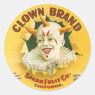 Vintage Advertising Clown Brand Fruit Sparr Co. Round Sticker