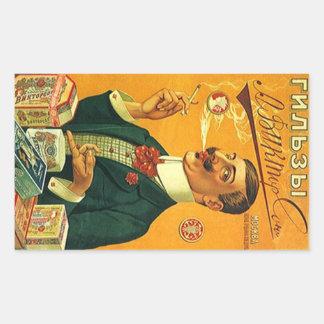 Vintage Advertising Fashion Man Smoke Cigarettes Rectangular Sticker