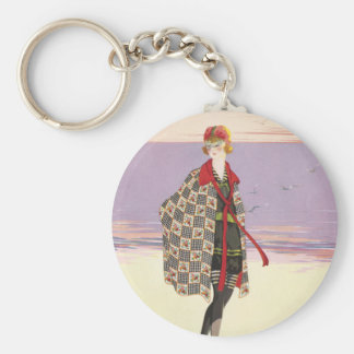 Vintage Advertising - Girl on Beach Key Ring