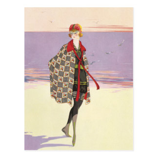 Vintage Advertising - Girl on Beach Postcard