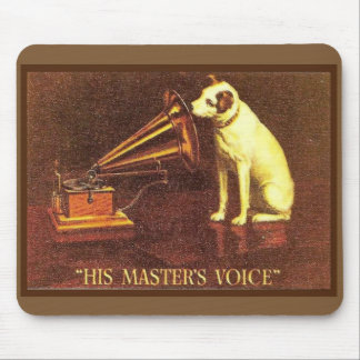 VIntage advertising, His master's Voice Mouse Mat