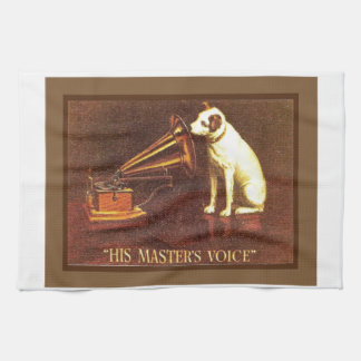 VIntage advertising, His master's Voice Tea Towel