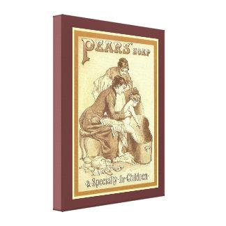 Vintage advertising, Pears Soap, children Canvas Print