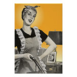 Vintage advertising Vacuum chores Housework Poster