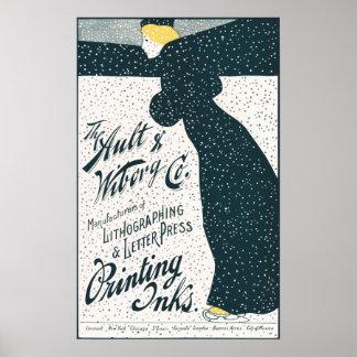 Vintage Advertising  - Woman Skating in Snow Storm Poster