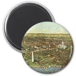Vintage Aerial Antique City Map of Washington DC 6 Cm Round Magnet