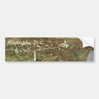 Vintage Aerial Antique City Map of Washington DC Bumper Sticker