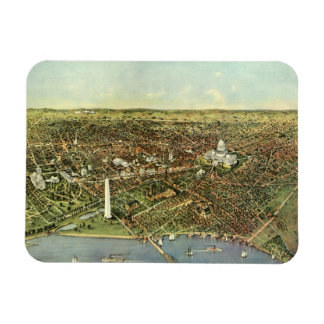 Vintage Aerial Antique City Map of Washington DC Rectangle Magnet