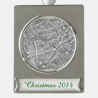 Vintage Aerial Paris Map Silver Plated Banner Ornament