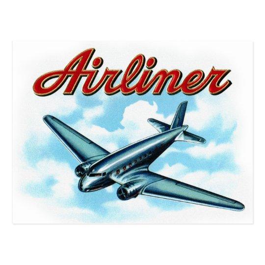Vintage Aeroplane Airliner Cigar Label Postcard