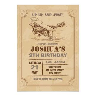 Vintage Aeroplane Birthday Invitation