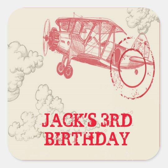 Vintage Aeroplane Birthday Party Stickers