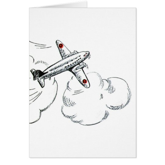 Vintage Aeroplane Black and White Drawing Card
