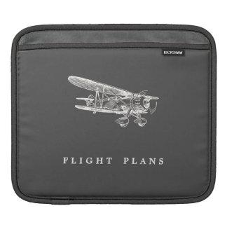 Vintage Aeroplane, Flight Plans Sleeve For iPads
