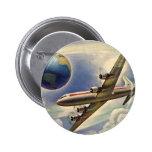 Vintage Aeroplane Flying Around the World in 6 Cm Round Badge