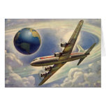 Vintage Aeroplane Flying Around the World in Greeting Card