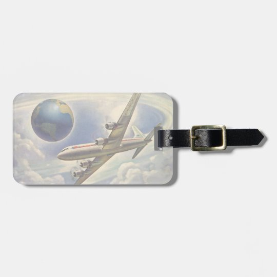 Vintage Aeroplane Flying Around the World in Luggage Tag