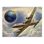 Vintage Aeroplane Flying Around the World in Postcard
