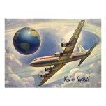 Vintage Aeroplane Flying Around World Couple Personalised Invite