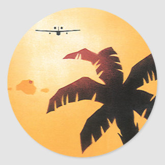 Vintage Aeroplane Flying Over Hawaii and Palm Tree Sticker
