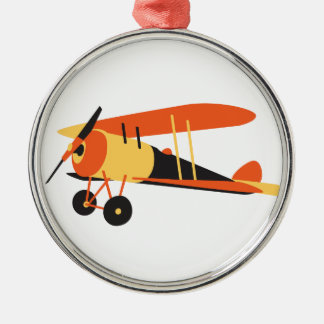 vintage  aeroplane, Nieuport 28,  WWI era Silver-Colored Round Decoration