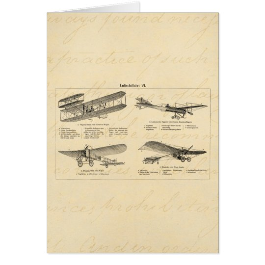 Vintage Aeroplane Retro Old Biplane Antique Planes Card