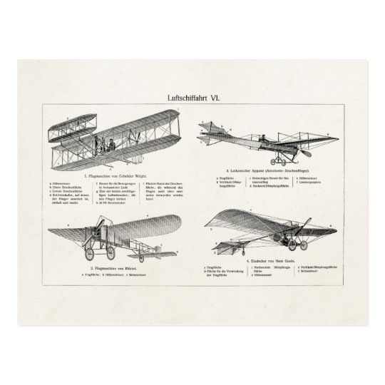 Vintage Aeroplane Retro Old Biplane Antique Planes Postcard