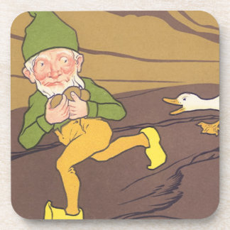 Vintage Aesop Fable Goose that Laid the Golden Egg Drink Coaster