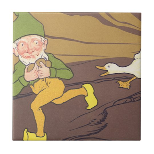Vintage Aesop Fable Goose that Laid the Golden Egg Small Square Tile