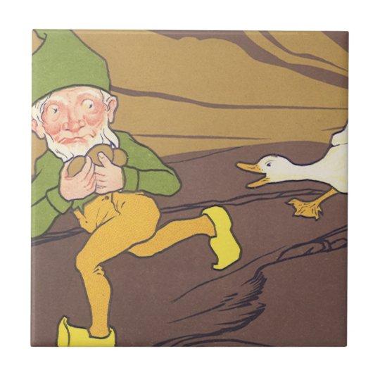 Vintage Aesop Fable Goose that Laid the Golden Egg Tile
