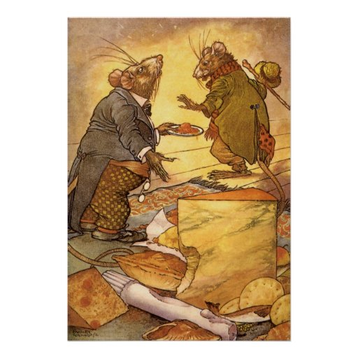 Vintage Aesop's Fable, Country Mouse, City Mouse Poster
