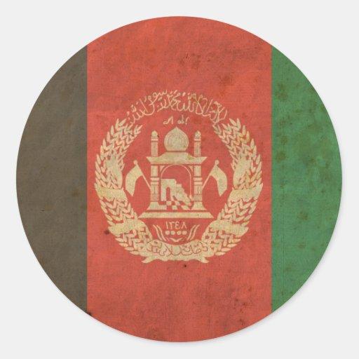 Vintage Afghanistan Flag Round Stickers