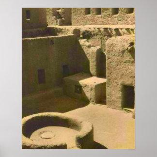 Vintage africa Mud brick building Algeria Print