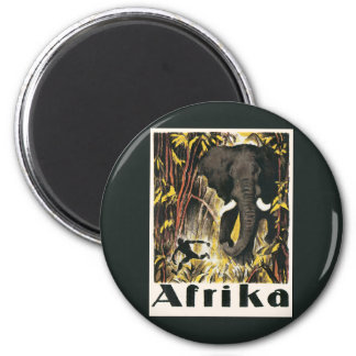 Vintage Africa Travel Poster, African Elephant 6 Cm Round Magnet