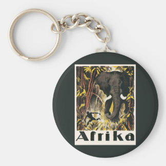 Vintage Africa Travel Poster, African Elephant Keychain